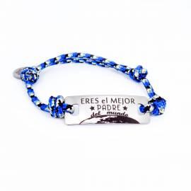 Pulsera de acero con mensaje para el día del padre Eres el mejor padre del mundo con cordón náutico azul.