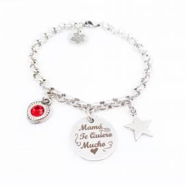 pulsera mamá te quiero mucho con corazón rojo y estrella de zamak baño de plata